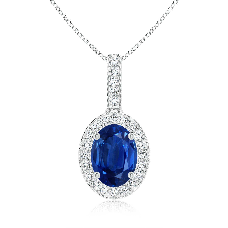 Angara GIA Certified Oval Sapphire Dangle Pendant with Double Halo GwJ7YXNu