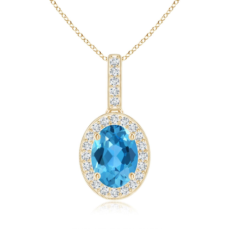 Vintage Oval Swiss Blue Topaz Pendant Necklace with Diamond Halo - Angara.com