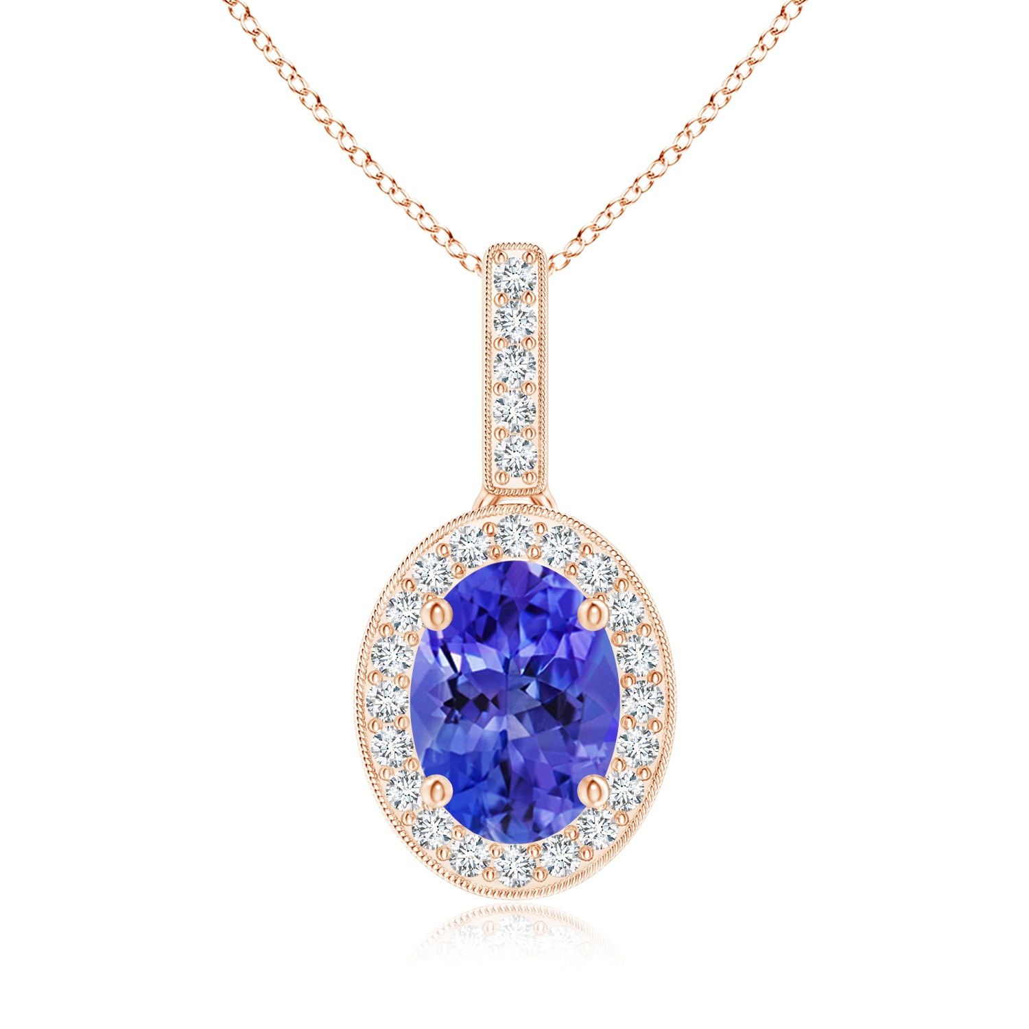Tanzanite Necklace Tanzanite: 14k Yellow Gold Oval Tanzanite Diamond Pendant Necklace