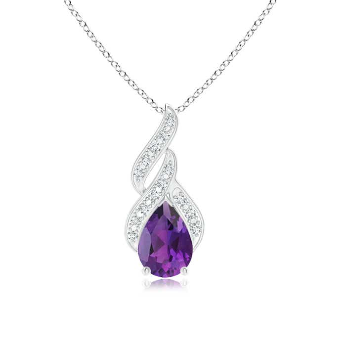 Angara Pear Shaped Amethyst Teardrop Necklace in White Gold CXHOZbZhtq