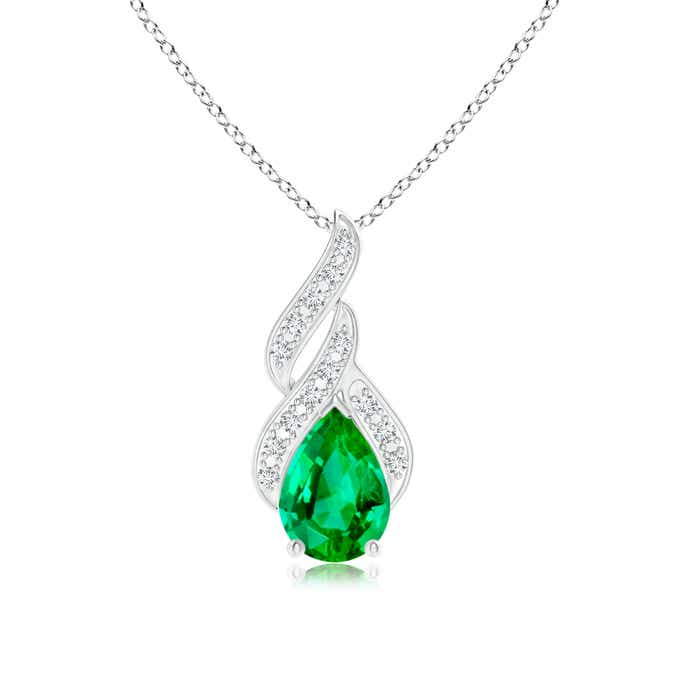 Angara Pear Shaped Emerald Pendant in White Gold FHVxw