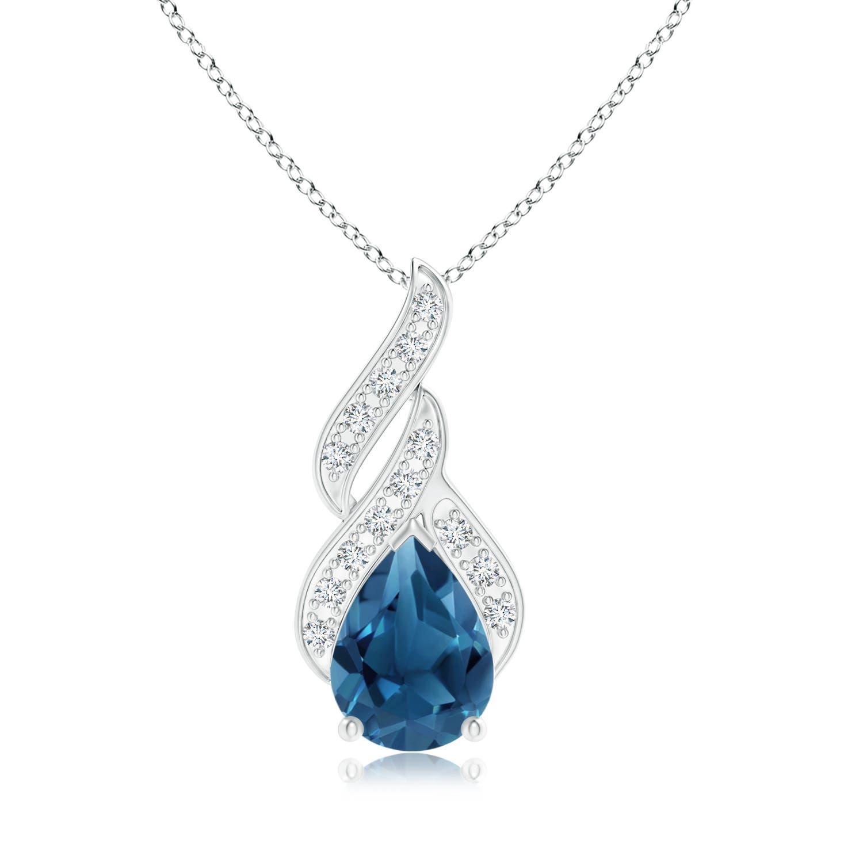 Angara Pear-Shaped London Blue Topaz and Diamond Loop Pendant a5okWLJ