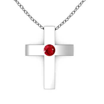 Gypsy Set Round Ruby Cross Pendant - Angara.com