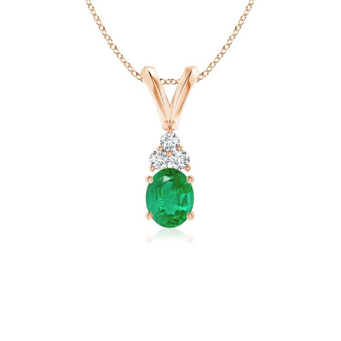 Angara Classic Trio Emerald Necklace in Yellow Gold 3US2SJuE