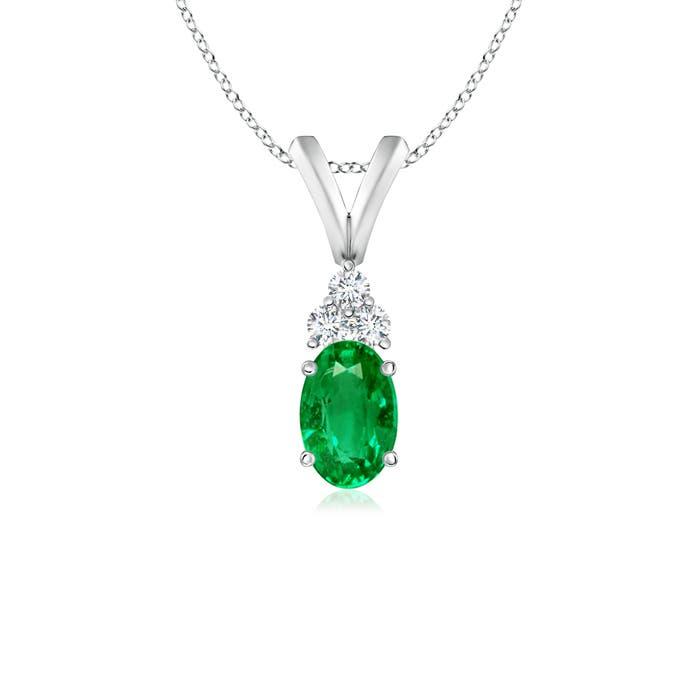 Oval Emerald Solitaire Pendant with Trio Diamond V-Bail - Angara.com