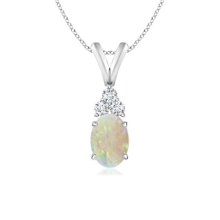 Oval Opal Solitaire Pendant with Trio Diamond V-Bail - Angara.com