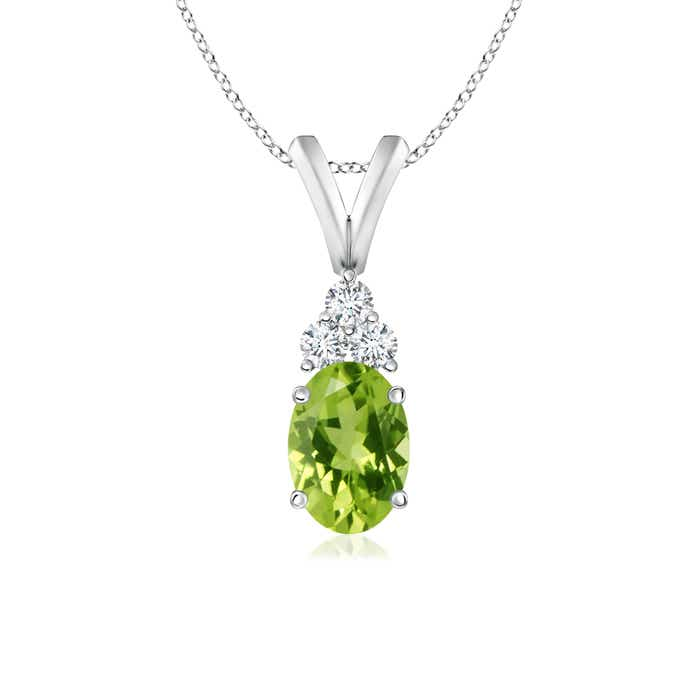 Angara Oval Peridot Solitaire Pendant with Trio Diamond 2PRO2