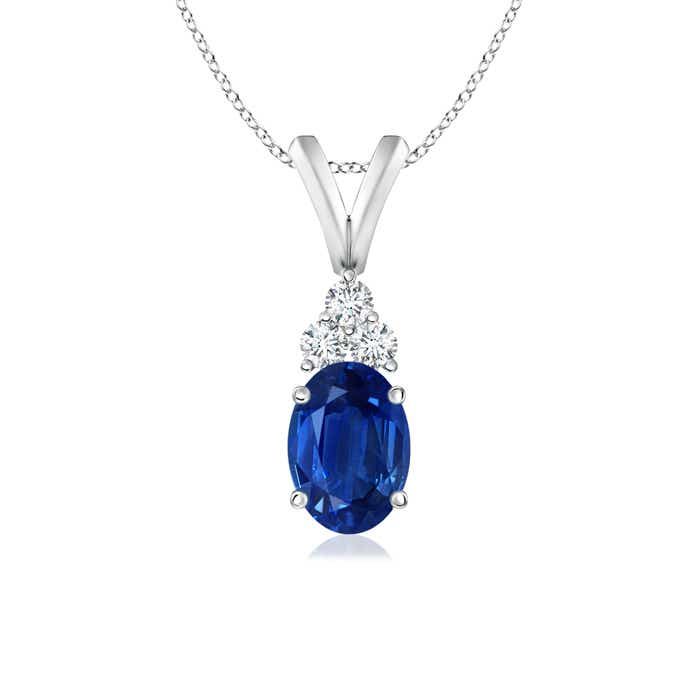 Angara Diamond Sapphire Pendant in Platinum for Her e6HSWGob