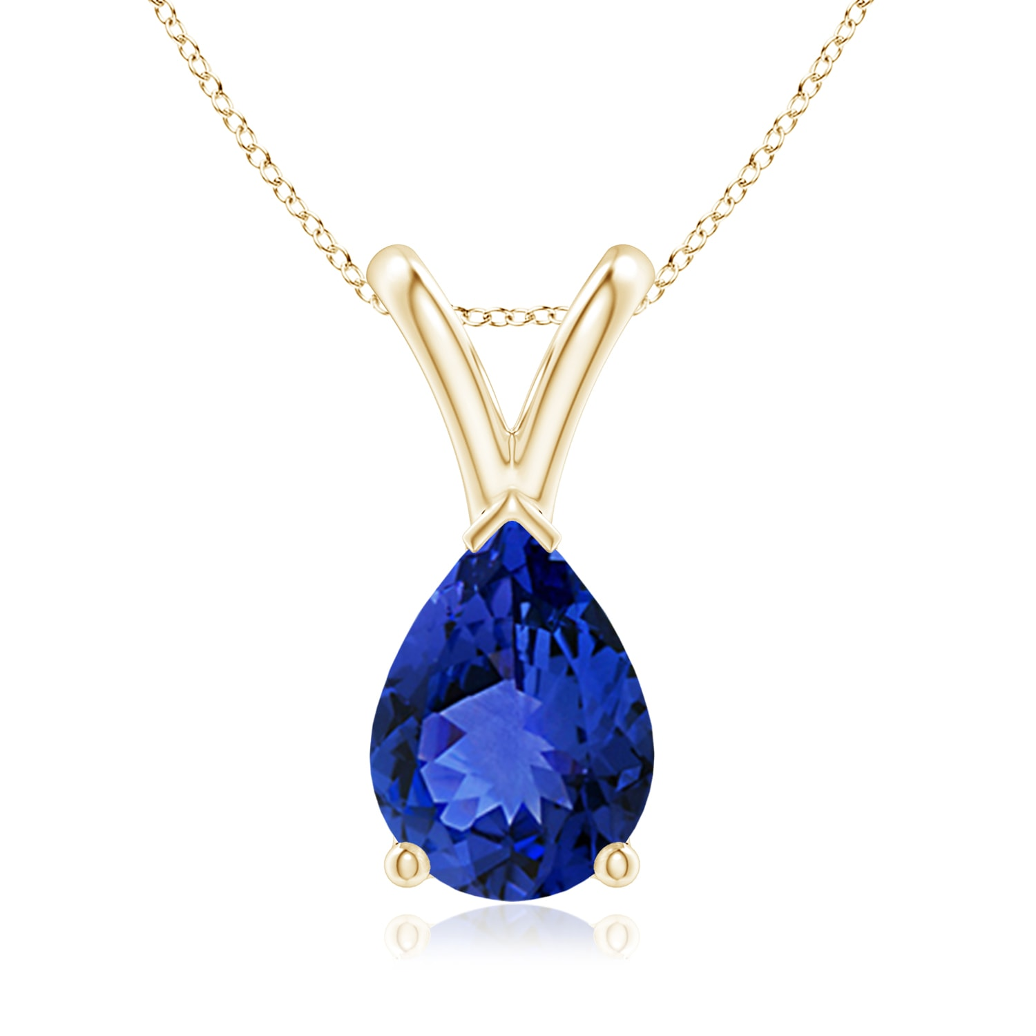 Tanzanite Necklace Tanzanite: Solitaire Shape Natural Tanzanite Pendant Necklace With 18
