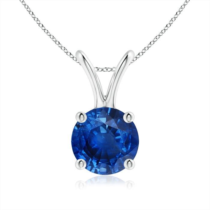 V-Bale Round Blue Sapphire Solitaire Pendant - Angara.com