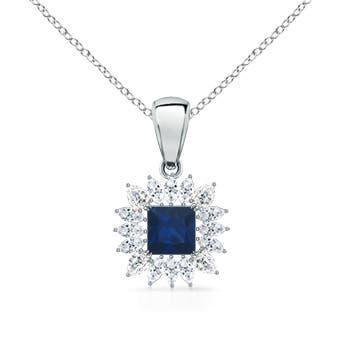 Square Sapphire and Floral Diamond Halo Pendant - Angara.com