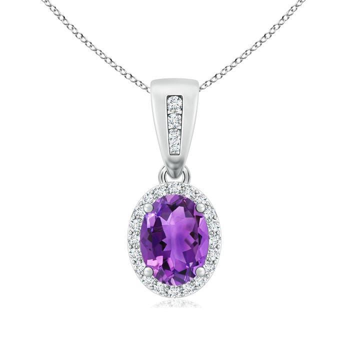 Diamond Halo Antique Oval Amethyst Pendant Necklace - Angara.com