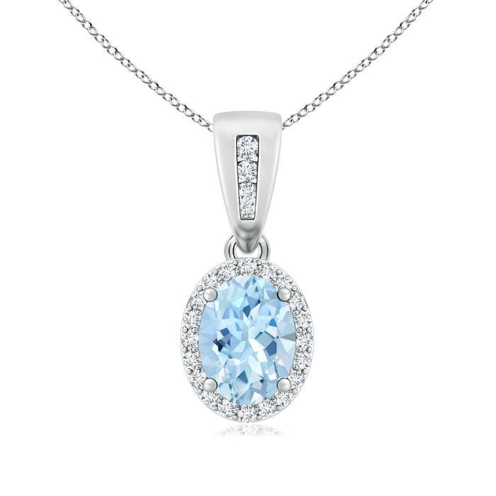 Diamond Halo Antique Oval Aquamarine Pendant Necklace - Angara.com
