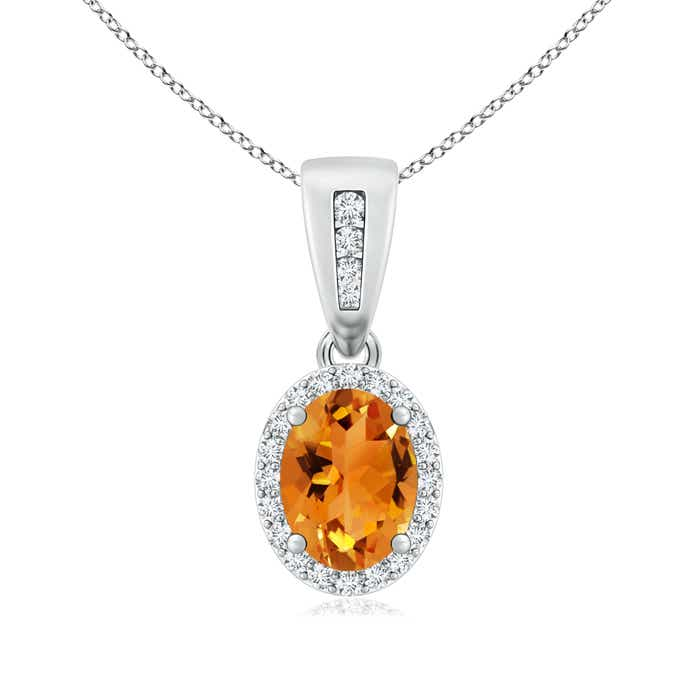 Diamond Halo Antique Oval Citrine Pendant Necklace - Angara.com