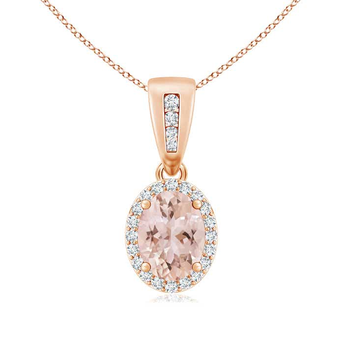 Diamond Halo Antique Oval Morganite Pendant Necklace - Angara.com