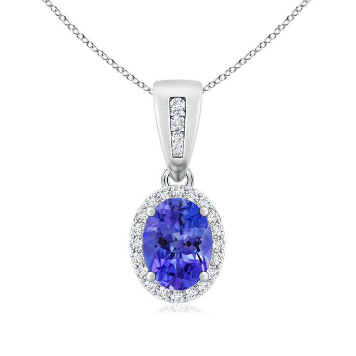 Diamond Halo Antique Oval Tanzanite Pendant Necklace - Angara.com