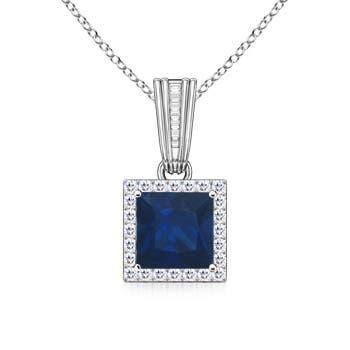 Angara Square Citrine Necklace with Diamond Halo in 14K Yellow Gold PFBzMB3oQ