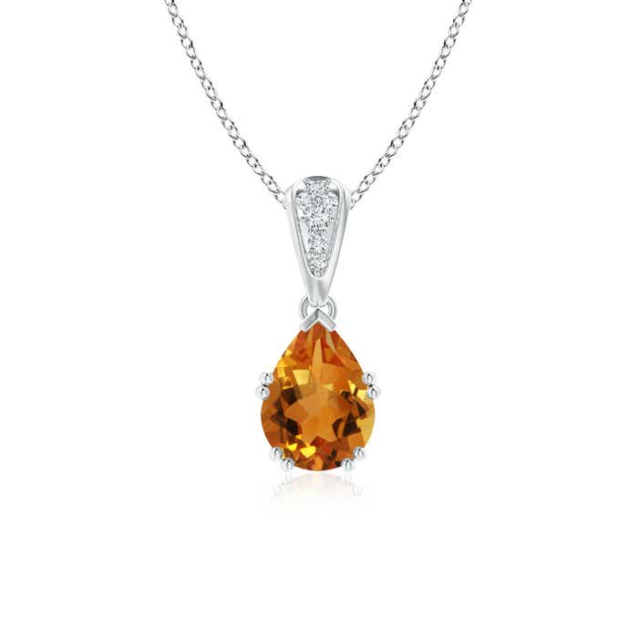 Vintage Pear Shaped Citrine Necklace with Diamond Accents - Angara.com