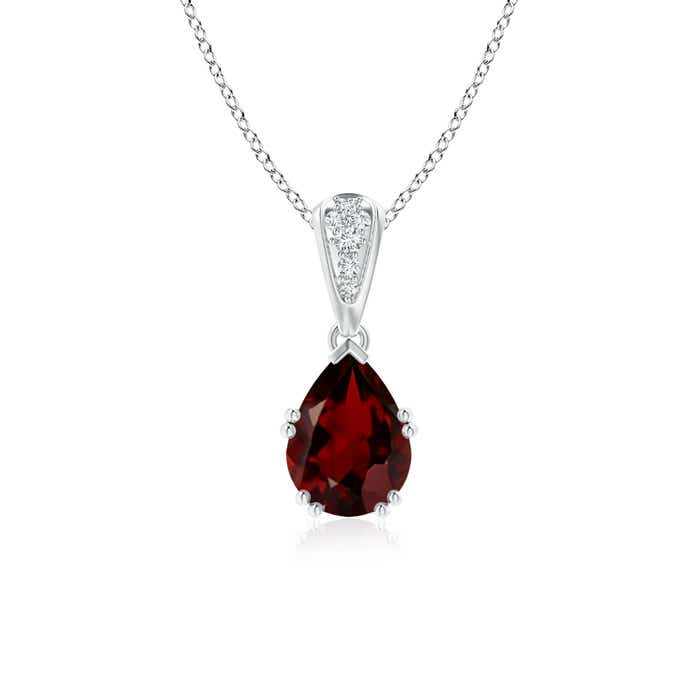Vintage Pear Shaped Garnet Necklace with Diamond Accents - Angara.com