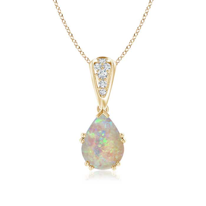 Angara Pear Opal Teardrop Necklace with Diamond in Yellow Gold 3a5sLr3gUA