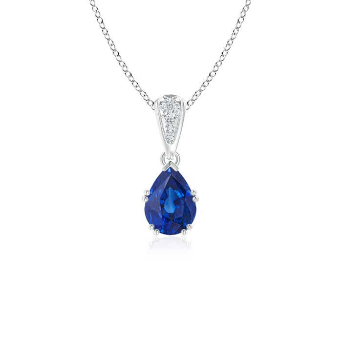 Angara Round Sapphire and Diamond Two Stone Pendant jTvcXke0