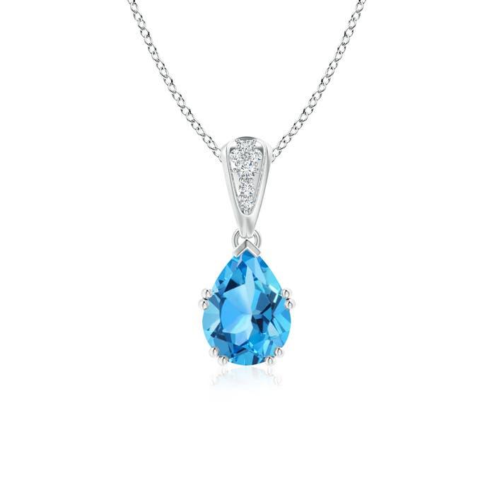 Vintage Pear Shaped Swiss Blue Topaz Necklace with Diamonds - Angara.com