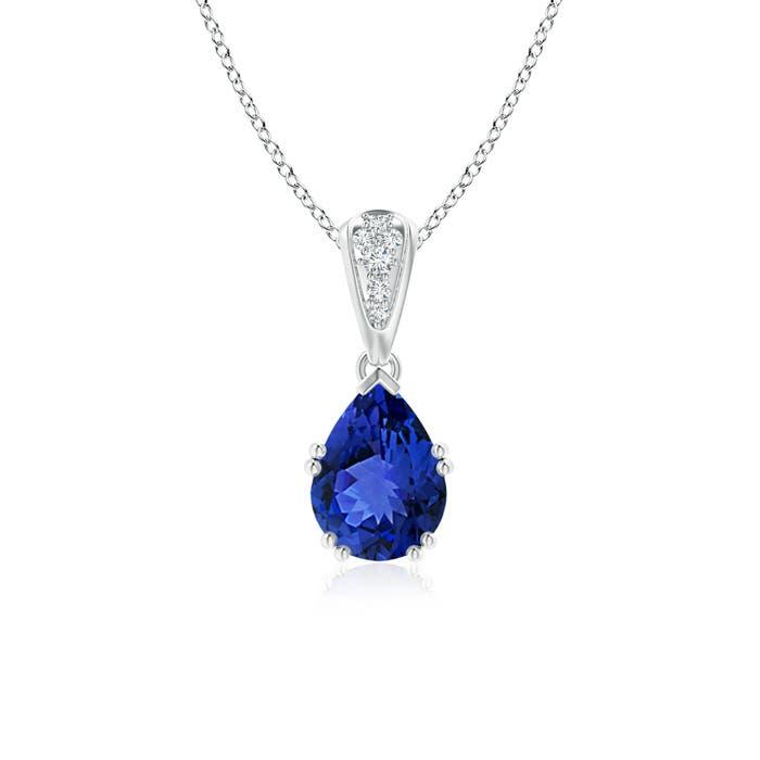 Angara Vintage Style Pear Tanzanite Drop Pendant with Diamonds 4qcdS