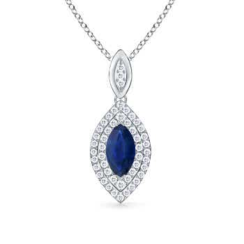 Diamond Double Halo Marquise Sapphire Necklace - Angara.com