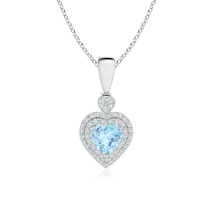 Diamond Double Halo Aquamarine Heart Necklace Pendant - Angara.com