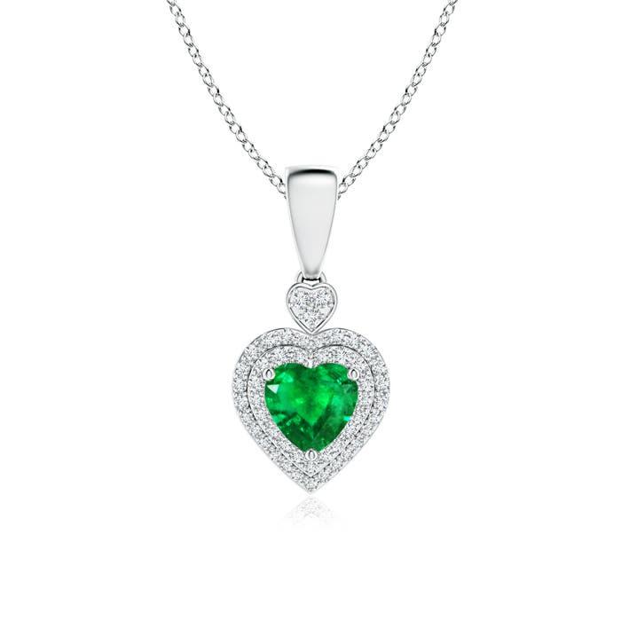 Diamond Double Halo Emerald Heart Necklace Pendant - Angara.com
