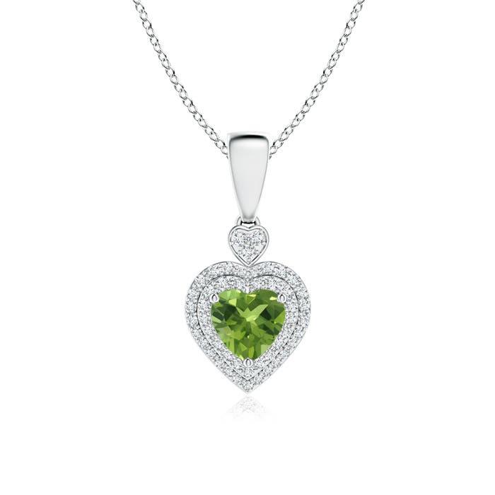 Angara Peridot Heart Pendant with Diamond Double Halo oTVwN