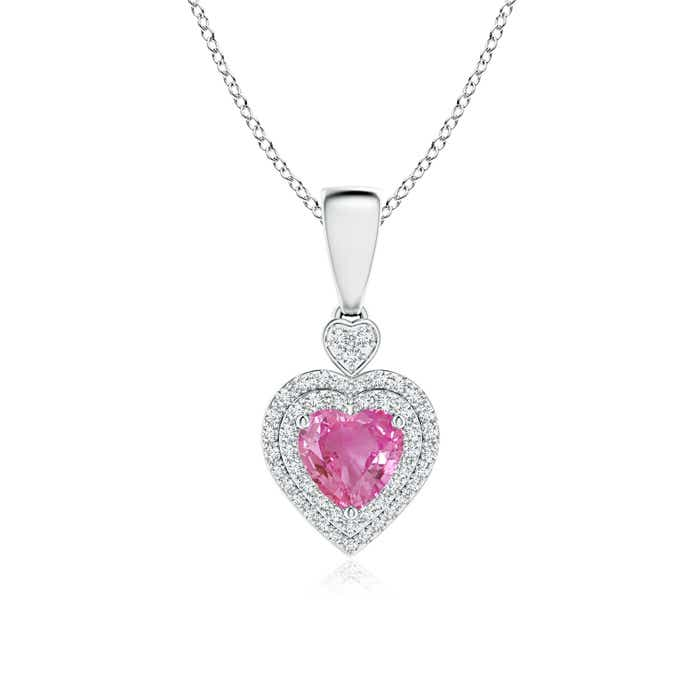 Diamond Double Halo Pink Sapphire Heart Necklace Pendant - Angara.com