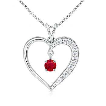 Dangling Round Ruby Open Heart Pendant Necklace - Angara.com