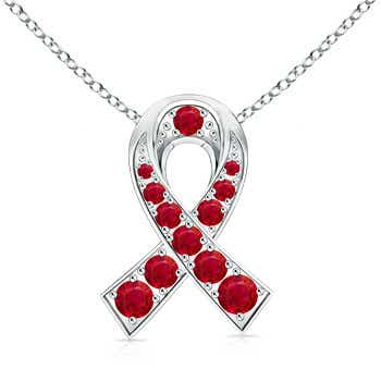 14k White Gold Round Ruby Ribbon Pendant
