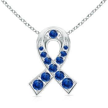 14k White Gold Round Sapphire Ribbon Pendant