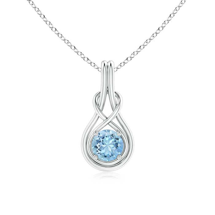 Round Aquamarine Infinity Knot Necklace in 4-Prong Setting - Angara.com