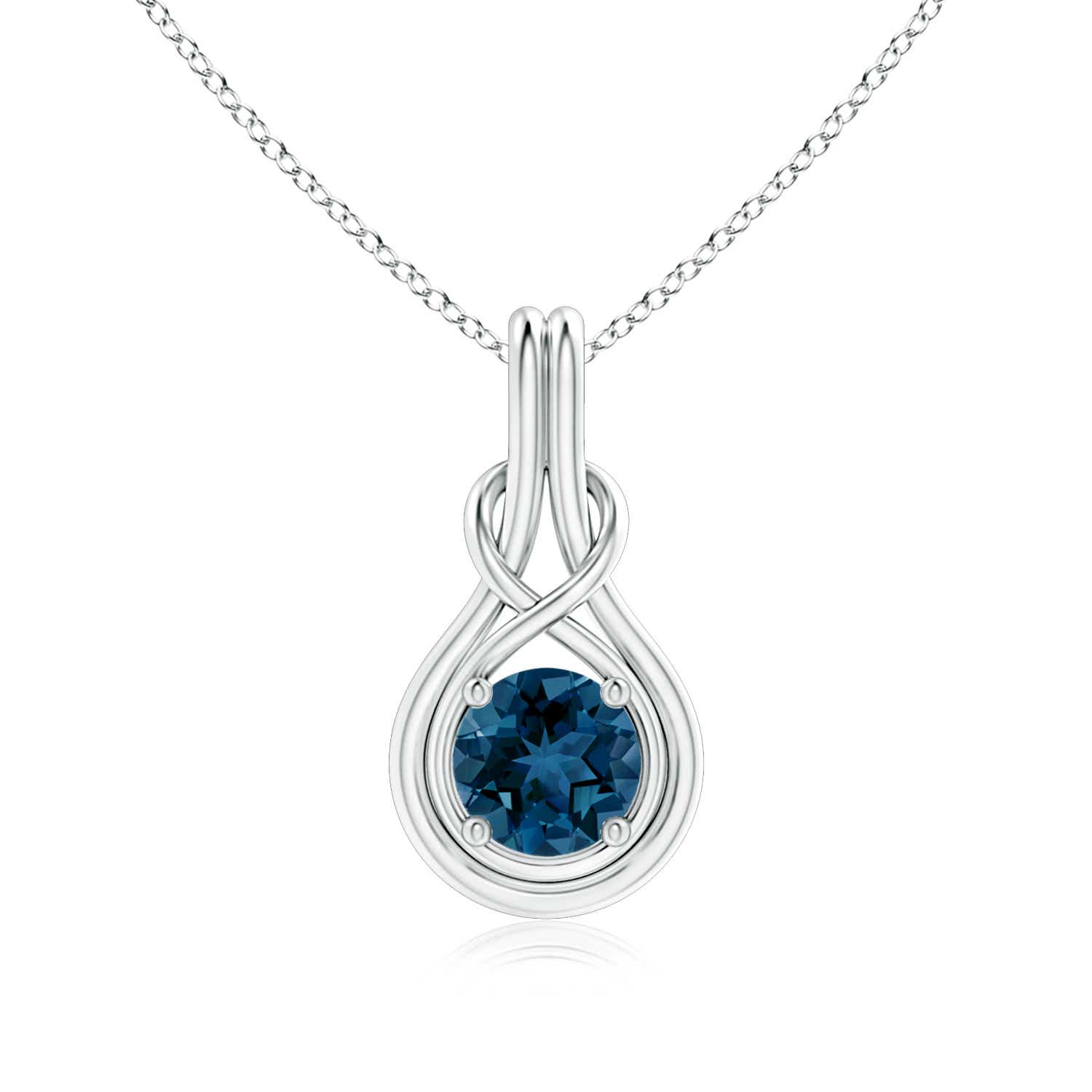 Angara London Blue Topaz Bezel-Set Necklace Pendant in Platinum lacEy