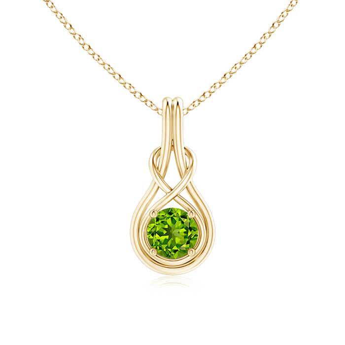 Round Peridot Infinity Knot Necklace in 4-Prong Setting - Angara.com