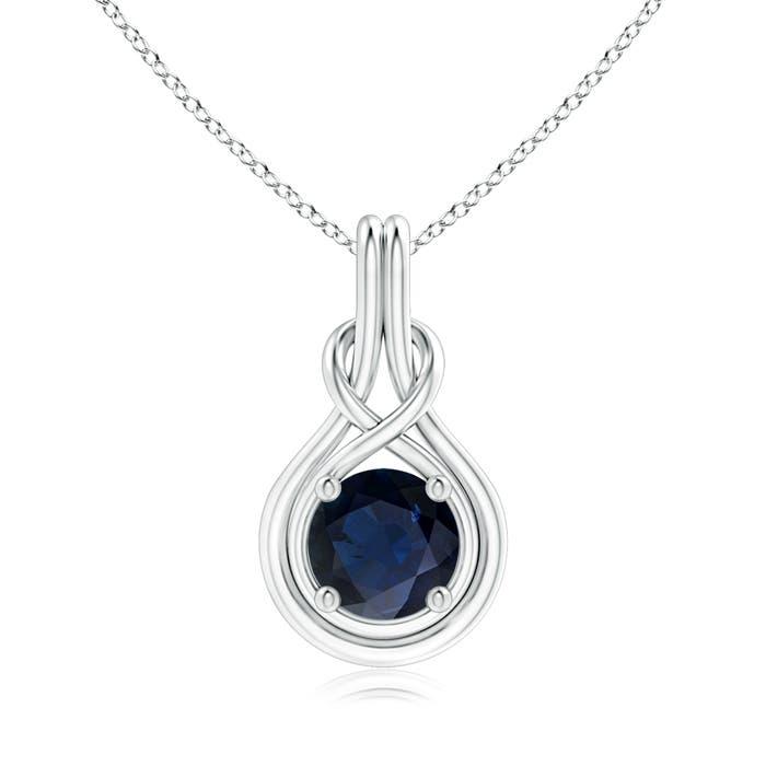 Angara Round Sapphire Infinity Love Knot Pendant in Platinum GLnqxM