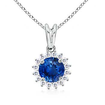 Round Sapphire Pendant Necklace with Diamond Cluster Halo - Angara.com