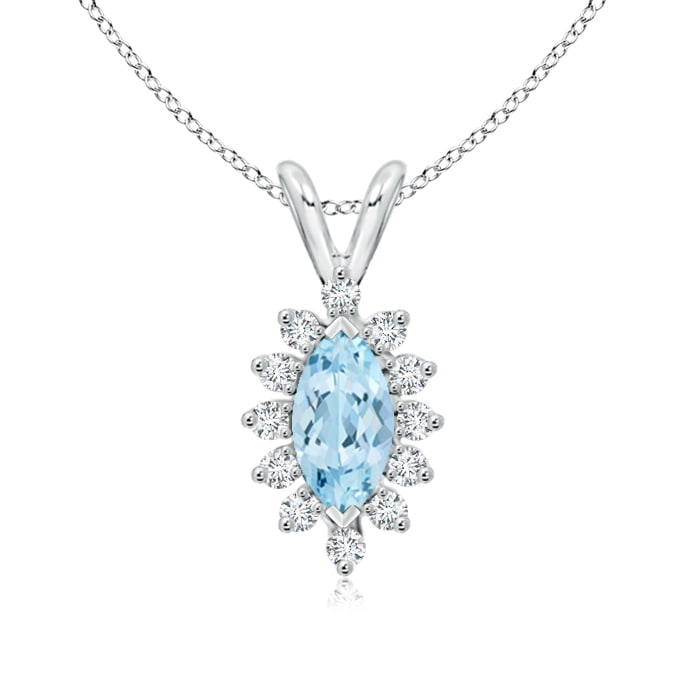 Vintage Marquise Aquamarine Necklace with Diamond Halo Floral - Angara.com
