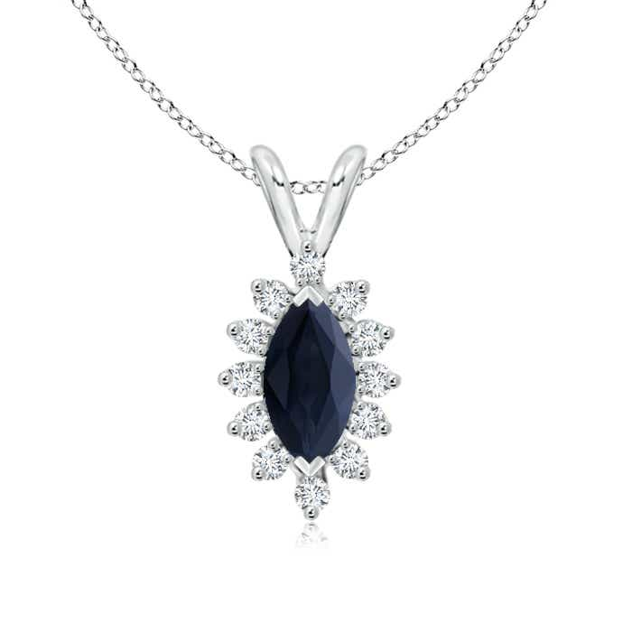 Angara Natural Sapphire and Diamond Halo Vintage Necklace in 14k White Gold gbVJYQJsyf