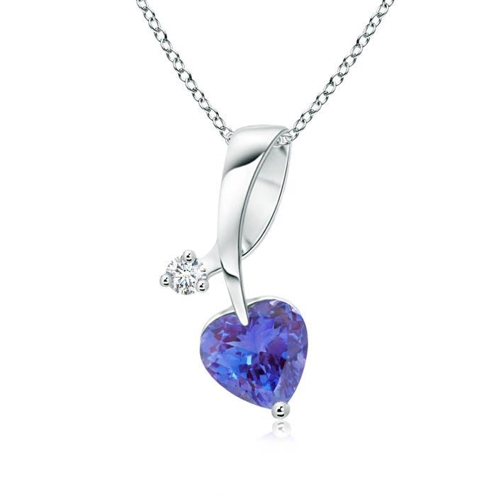 Twisted Heart Shaped Tanzanite Necklace with Diamond - Angara.com