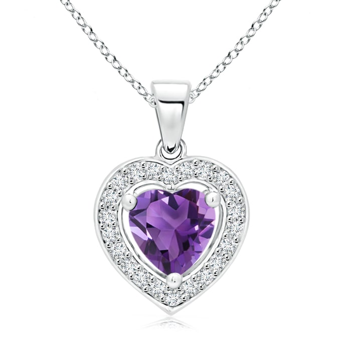 Vintage Style Floating Amethyst Heart Pendant with Diamond Halo - Angara.com