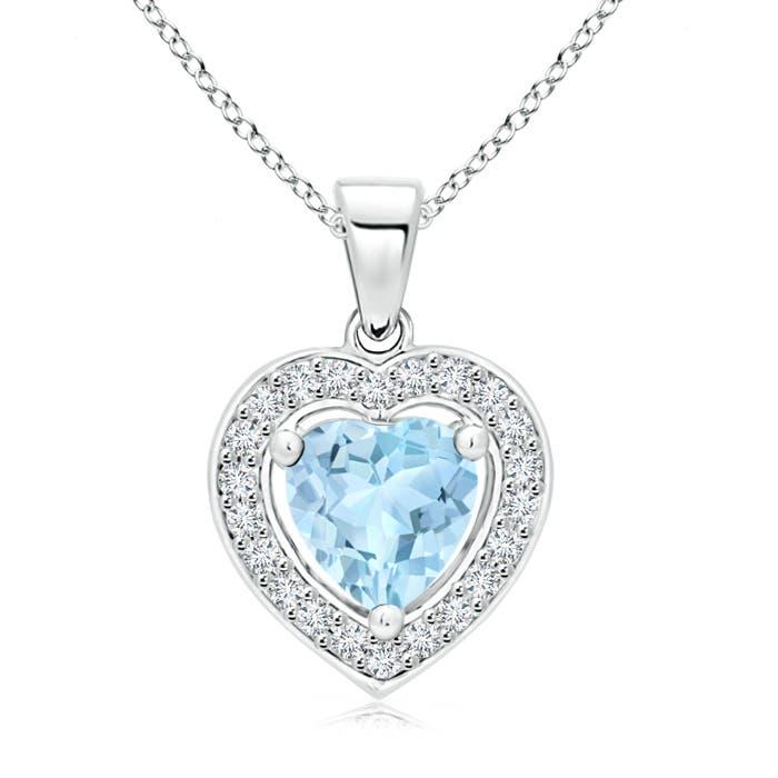 Vintage Style Floating Aquamarine Heart Pendant with Diamond Halo - Angara.com