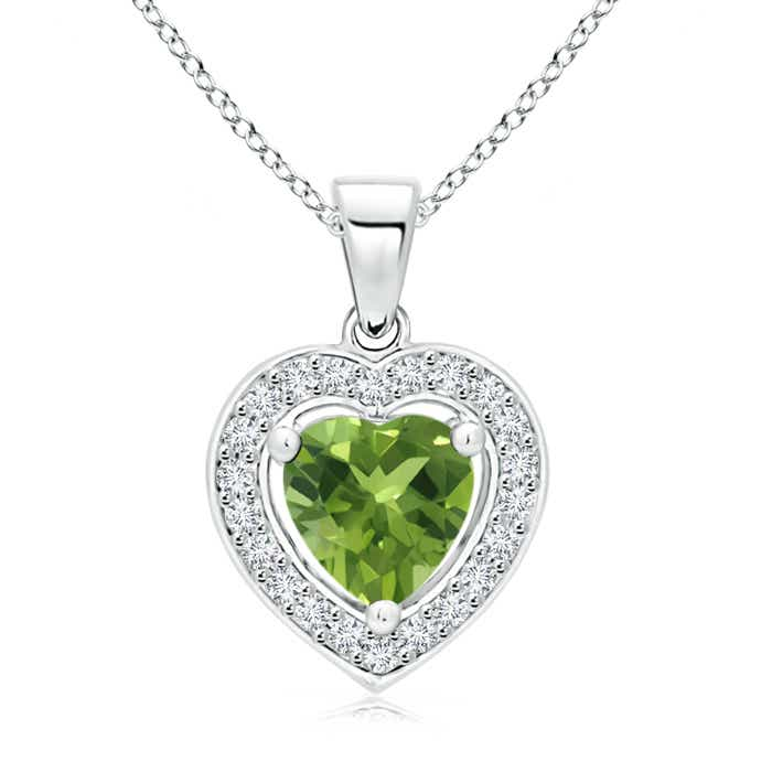Vintage Style Floating Peridot Heart Pendant with Diamond Halo - Angara.com