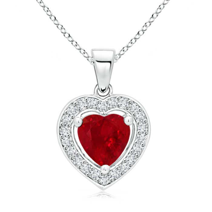 Vintage Style Floating Ruby Heart Pendant with Diamond Halo - Angara.com