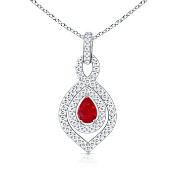 Diamond Double Halo Pear Shaped Ruby Pendant Necklace  - Angara.com