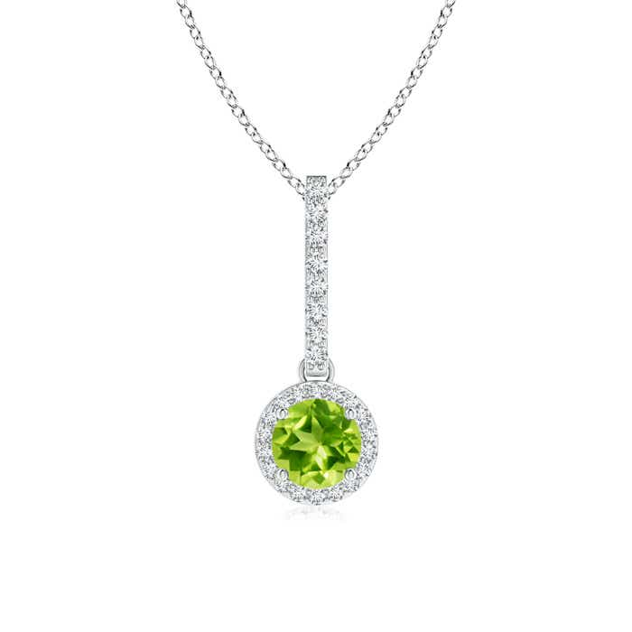 Dangling Round Peridot and Diamond Halo Pendant - Angara.com