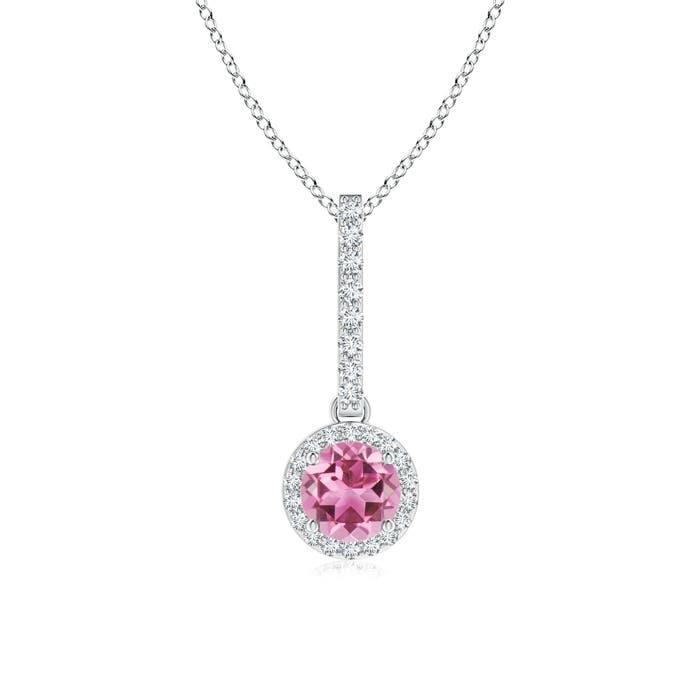 Dangling Round Pink Tourmaline and Diamond Halo Pendant - Angara.com